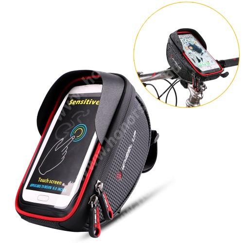 HUAWEI Honor V40 5G UNIVERZÁLIS biciklis / kerékpáros tartó konzol mobiltelefon készülékekhez - cseppálló védő tokos kialakítás, cipzár, max 165 x 85 x 10mm méretű készülékekhez - FEKETE / PIROS