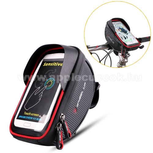 APPLE iPhone XUNIVERZÁLIS biciklis / kerékpáros tartó konzol mobiltelefon készülékekhez - cseppálló védő tokos kialakítás, cipzár, 6