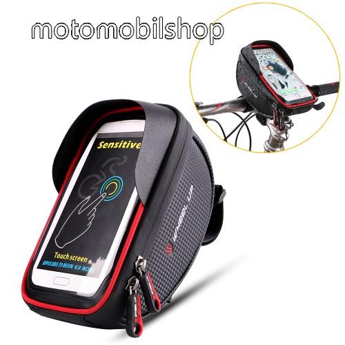 """MOTOROLA Moto Z4 UNIVERZÁLIS biciklis / kerékpáros tartó konzol mobiltelefon készülékekhez - cseppálló védő tokos kialakítás, cipzár, 6"""" készülékekhez - FEKETE / PIROS"""