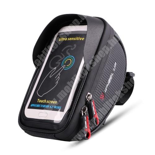 """NOKIA 7.1 Plus UNIVERZÁLIS biciklis / kerékpáros tartó konzol mobiltelefon készülékekhez - cseppálló védő tokos kialakítás, cipzár, 6"""" készülékekhez - FEKETE"""