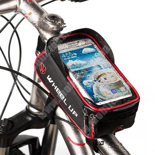 """NOKIA 7.1 Plus UNIVERZÁLIS biciklis / kerékpáros tartó konzol mobiltelefon készülékekhez - cseppálló védő tokos kialakítás, cipzár, tépőzáras, fényvisszaverő pánt, 6"""" készülékekhez - FEKETE / PIROS"""