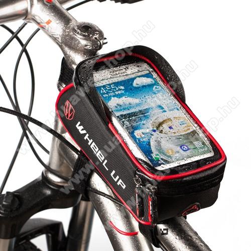 UNIVERZÁLIS biciklis / kerékpáros tartó konzol mobiltelefon készülékekhez - cseppálló védő tokos kialakítás, cipzár, tépőzáras, fényvisszaverő pánt, 6