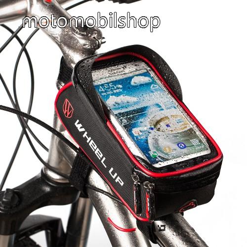 """UNIVERZÁLIS biciklis / kerékpáros tartó konzol mobiltelefon készülékekhez - cseppálló védő tokos kialakítás, cipzár, tépőzáras, fényvisszaverő pánt, 6"""" készülékekhez - FEKETE / PIROS"""