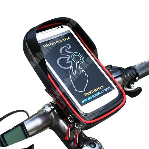 """NOKIA 7.1 Plus UNIVERZÁLIS biciklis / kerékpáros tartó konzol mobiltelefon készülékekhez - cseppálló védő tokos kialakítás, cipzár, kormányra rögzíthető, 6"""" készülékekhez - FEKETE / PIROS"""