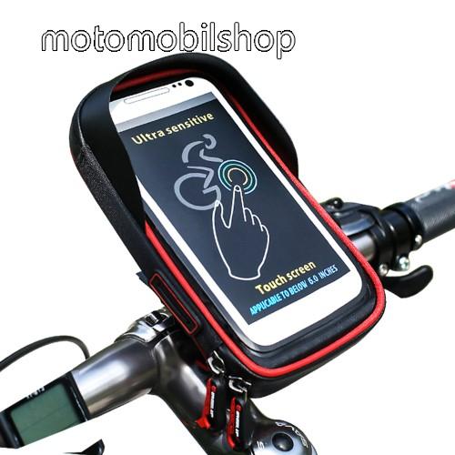"""UNIVERZÁLIS biciklis / kerékpáros tartó konzol mobiltelefon készülékekhez - cseppálló védő tokos kialakítás, cipzár, kormányra rögzíthető, 6"""" készülékekhez - FEKETE / PIROS"""