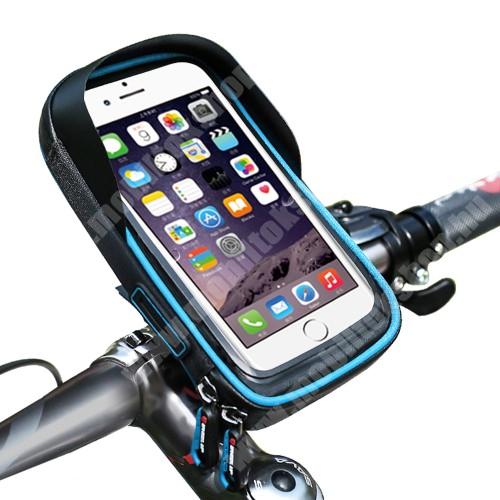 """NOKIA 7.1 Plus UNIVERZÁLIS biciklis / kerékpáros tartó konzol mobiltelefon készülékekhez - cseppálló védő tokos kialakítás, cipzár, kormányra rögzíthető, 6"""" készülékekhez - FEKETE / KÉK"""