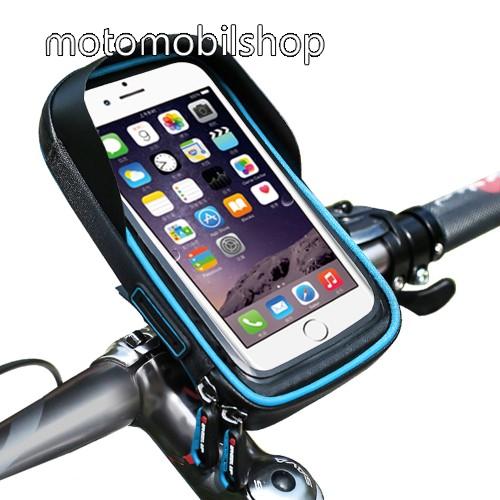"""UNIVERZÁLIS biciklis / kerékpáros tartó konzol mobiltelefon készülékekhez - cseppálló védő tokos kialakítás, cipzár, kormányra rögzíthető, 6"""" készülékekhez - FEKETE / KÉK"""