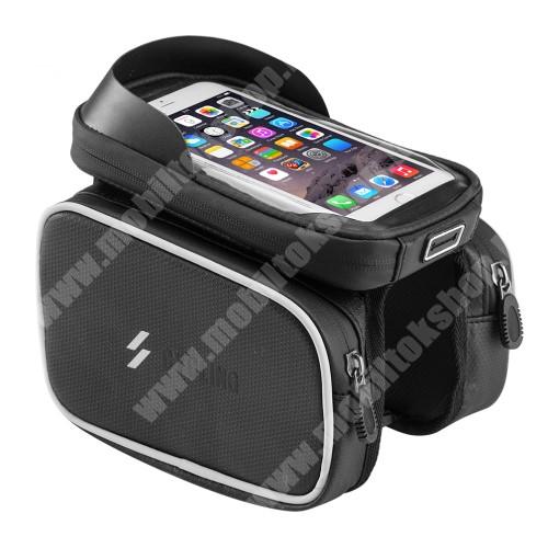 """UNIVERZÁLIS biciklis / kerékpáros tartó konzol mobiltelefon készülékekhez - vázra rögzíthető, tépőzáras, cseppálló védő tokos kialakítás, cipzáros oldal táskák, 6"""" készülékekhez - FEKETE - 180 x 150 x 170 mm"""