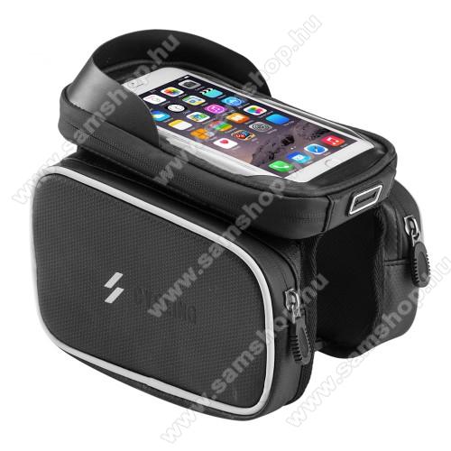 UNIVERZÁLIS biciklis / kerékpáros tartó konzol mobiltelefon készülékekhez - vázra rögzíthető, tépőzáras, cseppálló védő tokos kialakítás, cipzáros oldal táskák, 6