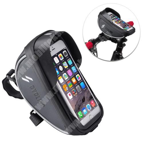 Blackview R6 Lite UNIVERZÁLIS biciklis / kerékpáros tartó konzol mobiltelefon készülékekhez - cseppálló védő tokos kialakítás, cipzár, kormányra rögzíthető, 105 x 175 x 95mm - FEKETE