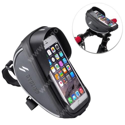 HUAWEI Honor 9 UNIVERZÁLIS biciklis / kerékpáros tartó konzol mobiltelefon készülékekhez - cseppálló védő tokos kialakítás, cipzár, kormányra rögzíthető, 105 x 175 x 95mm - FEKETE