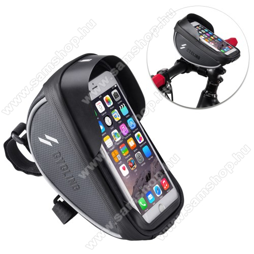 SAMSUNG Galaxy Grand Duos (GT-I9082)UNIVERZÁLIS biciklis / kerékpáros tartó konzol mobiltelefon készülékekhez - cseppálló védő tokos kialakítás, cipzár, kormányra rögzíthető, 105 x 175 x 95mm - FEKETE