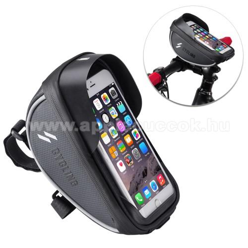 APPLE iPhone 11 Pro MaxUNIVERZÁLIS biciklis / kerékpáros tartó konzol mobiltelefon készülékekhez - cseppálló védő tokos kialakítás, cipzár, kormányra rögzíthető, 105 x 175 x 95mm - FEKETE
