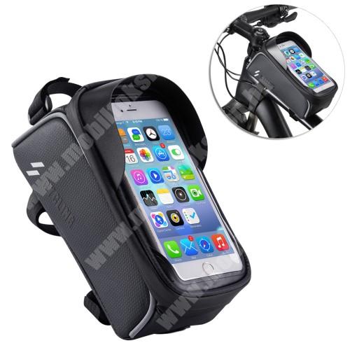 Elephone P9 Water UNIVERZÁLIS biciklis / kerékpáros tartó konzol mobiltelefon készülékekhez - cseppálló védő tokos kialakítás, cipzár, vázra rögzíthető, 200 x 95 x 120mm - FEKETE