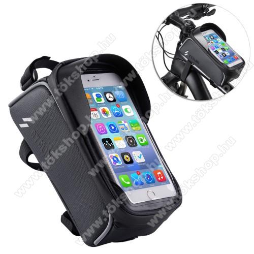Vodafone VPA Compact IV (HTC Herald)UNIVERZÁLIS biciklis / kerékpáros tartó konzol mobiltelefon készülékekhez - cseppálló védő tokos kialakítás, cipzár, vázra rögzíthető, 200 x 95 x 120mm - FEKETE