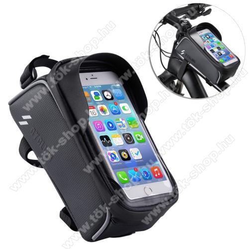 UNIVERZÁLIS biciklis / kerékpáros tartó konzol mobiltelefon készülékekhez - cseppálló védő tokos kialakítás, cipzár, vázra rögzíthető, 200 x 95 x 120mm - FEKETE