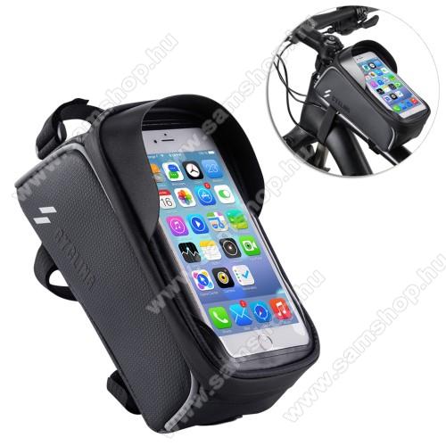 SAMSUNG SGH-i607 BlacUNIVERZÁLIS biciklis / kerékpáros tartó konzol mobiltelefon készülékekhez - cseppálló védő tokos kialakítás, cipzár, vázra rögzíthető, 200 x 95 x 120mm - FEKETE