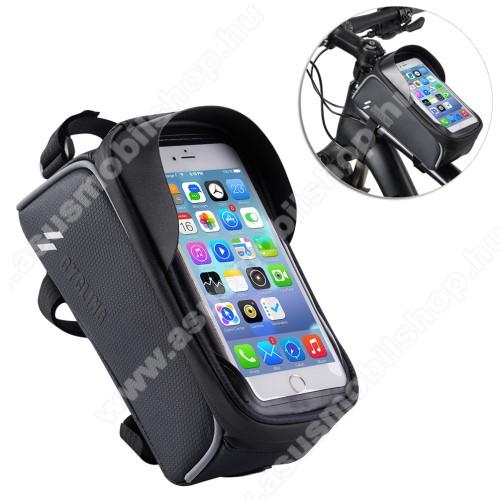 Asus P535UNIVERZÁLIS biciklis / kerékpáros tartó konzol mobiltelefon készülékekhez - cseppálló védő tokos kialakítás, cipzár, vázra rögzíthető, 200 x 95 x 120mm - FEKETE