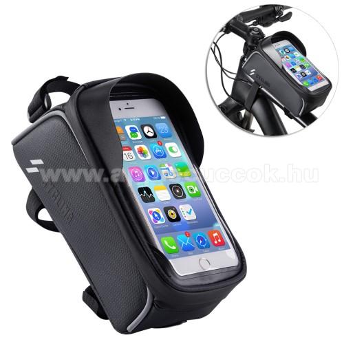 APPLE iPOD TouchUNIVERZÁLIS biciklis / kerékpáros tartó konzol mobiltelefon készülékekhez - cseppálló védő tokos kialakítás, cipzár, vázra rögzíthető, 200 x 95 x 120mm - FEKETE