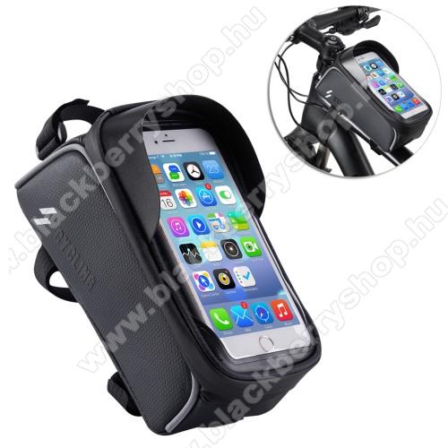 BLACKBERRY 8700gUNIVERZÁLIS biciklis / kerékpáros tartó konzol mobiltelefon készülékekhez - cseppálló védő tokos kialakítás, cipzár, vázra rögzíthető, 200 x 95 x 120mm - FEKETE
