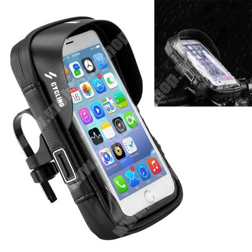 """UNIVERZÁLIS biciklis / kerékpáros tartó konzol mobiltelefon készülékekhez - cseppálló védő tokos kialakítás, kormányra rögzíthető, cipzár, fülhallgató nyílás, 6"""" készülékekhez - FEKETE - 194 x 125 x 70mm"""