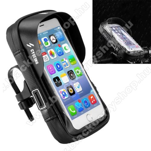 UNIVERZÁLIS biciklis / kerékpáros tartó konzol mobiltelefon készülékekhez - cseppálló védő tokos kialakítás, kormányra rögzíthető, cipzár, fülhallgató nyílás, 6