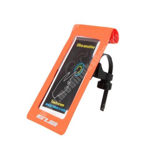 """NOKIA 7.1 Plus UNIVERZÁLIS biciklis / kerékpáros tartó konzol mobiltelefon készülékekhez - max 6""""-os méretig, cseppálló védő tokos kialakítás, kormányra vagy vázra rögzíthető, 175 x 108mm - NARANCSSÁRGA"""