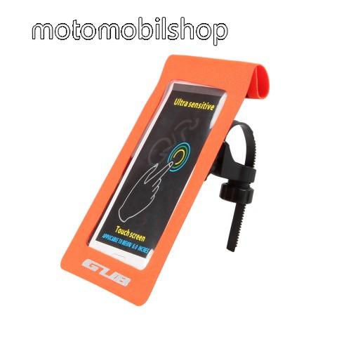 """UNIVERZÁLIS biciklis / kerékpáros tartó konzol mobiltelefon készülékekhez - max 6""""-os méretig, cseppálló védő tokos kialakítás, kormányra vagy vázra rögzíthető, 175 x 108mm - NARANCSSÁRGA"""