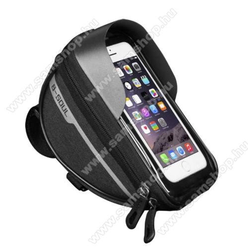 SAMSUNG Galaxy A7 (SM-A700F)UNIVERZÁLIS biciklis / kerékpáros tartó konzol mobiltelefon készülékekhez - cseppálló védő tokos kialakítás, cipzár, kormányra rögzíthető, 185 x 95 x 85mm, 6.5