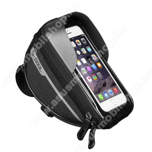 UNIVERZÁLIS biciklis / kerékpáros tartó konzol mobiltelefon készülékekhez - cseppálló védő tokos kialakítás, cipzár, kormányra rögzíthető, 185 x 95 x 85mm, 6.5