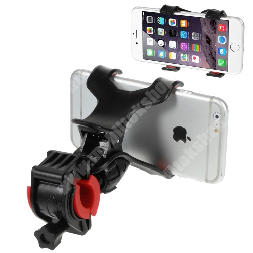 SAMSUNG SGH-E950 UNIVERZÁLIS biciklis / kerékpáros tartó konzol mobiltelefon készülékekhez - 360°-ban forgatható, csipeszes tartó rész, 12-18mm átmérőjű kormányra alkalmas - FEKETE