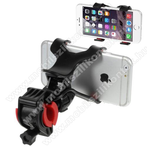 UNIVERZÁLIS biciklis / kerékpáros tartó konzol mobiltelefon készülékekhez - 360°-ban forgatható, csipeszes tartó rész, 12-18mm átmérőjű kormányra alkalmas - FEKETE