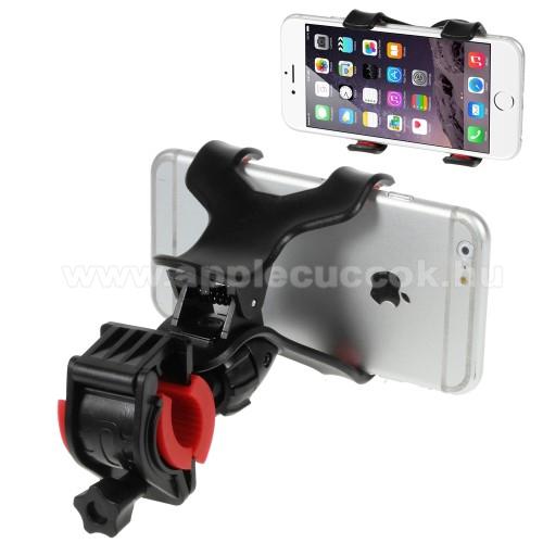 APPLE iPOD photo (40 GB, 60 GB)UNIVERZÁLIS biciklis / kerékpáros tartó konzol mobiltelefon készülékekhez - 360°-ban forgatható, csipeszes tartó rész, 12-18mm átmérőjű kormányra alkalmas - FEKETE