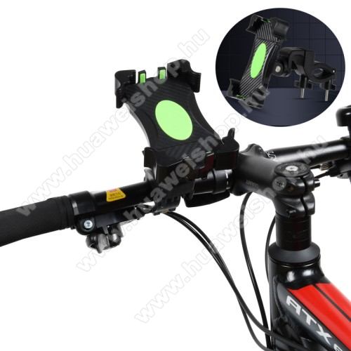 UNIVERZÁLIS biciklis / kerékpáros tartó konzol mobiltelefon készülékekhez - FEKETE - 360°-ban forgatható, max 42mm átmérőjű kormányra rögzíthető, 3,5-6,5