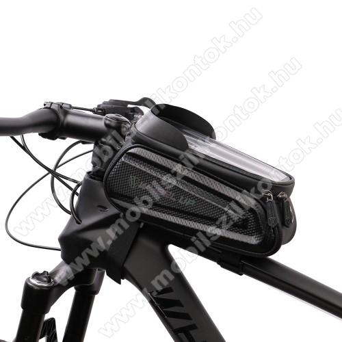 UNIVERZÁLIS biciklis / kerékpáros tartó konzol mobiltelefon készülékekhez - fényvisszaverő, cseppálló védő tokos kialakítás, tépőzáras pántok, fülhallgató nyílás, kétirányú cipzár - FEKETE - maximum 7