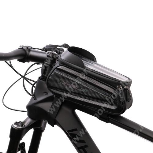 """HUAWEI Honor V40 5G UNIVERZÁLIS biciklis / kerékpáros tartó konzol mobiltelefon készülékekhez - fényvisszaverő, cseppálló védő tokos kialakítás, tépőzáras pántok, fülhallgató nyílás, kétirányú cipzár - FEKETE - maximum 7""""-os készülékekhez ajánlott"""