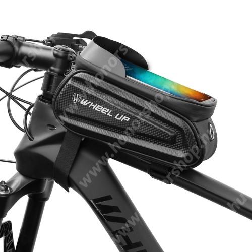 """HUAWEI Honor V40 5G UNIVERZÁLIS biciklis / kerékpáros tartó konzol mobiltelefon készülékekhez - cseppálló védő tokos kialakítás, tépőzár, fülhallgató nyílás, kétirányú cipzár, 190mm x 92mm x 70mm - FEKETE - maximum 7""""-os készülékekhez ajánlott"""