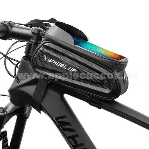 UNIVERZÁLIS biciklis / kerékpáros tartó konzol mobiltelefon készülékekhez - cseppálló védő tokos kialakítás, tépőzár, fülhallgató nyílás, kétirányú cipzár - FEKETE - maximum 7