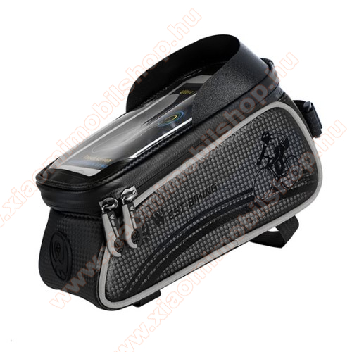 UNIVERZÁLIS biciklis / kerékpáros tartó konzol mobiltelefon készülékekhez - cseppálló védő tokos kialakítás, cipzár, kormányra / vázra rögzíthető, 200 x 82 x 103mm, 6