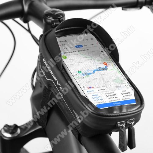 UNIVERZÁLIS biciklis / kerékpáros tartó konzol mobiltelefon készülékekhez - cseppálló védő tokos kialakítás, kormányra rögzíthető, cipzár, 6,5