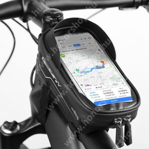 """HUAWEI Honor V40 5G UNIVERZÁLIS biciklis / kerékpáros tartó konzol mobiltelefon készülékekhez - cseppálló védő tokos kialakítás, kormányra rögzíthető, cipzár, 6,5"""" készülékekig, 165mm x 80mm x 45mm vastag - FEKETE"""