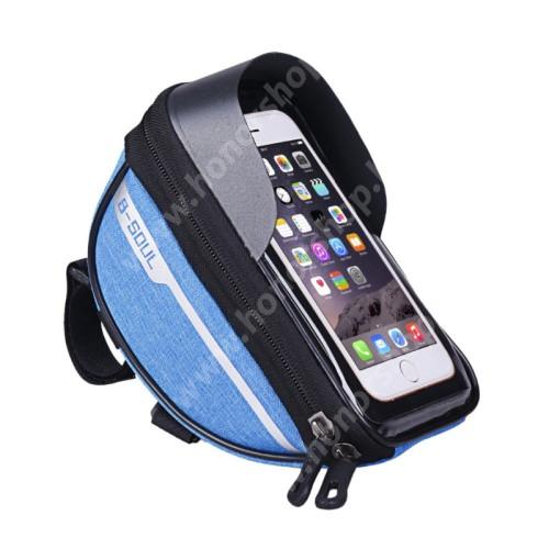 """HUAWEI Honor V40 5G UNIVERZÁLIS biciklis / kerékpáros tartó konzol mobiltelefon készülékekhez - cseppálló védő tokos kialakítás, cipzár, kormányra rögzíthető, 185 x 95 x 85mm, 6.5""""-os készülékekhez - KÉK"""
