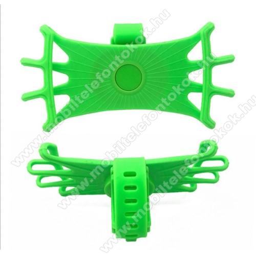 UNIVERZÁLIS biciklis / kerékpáros tartó konzol mobiltelefon készülékekhez - ZÖLD - 360°-ban forgatható, kormányra rögzíthető, szilikon - 4-6.5