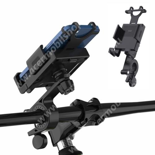 """ACER Liquid Z3 UNIVERZÁLIS biciklis / kerékpáros tartó konzol mobiltelefon készülékekhez - FEKETE - 360°-ban forgatható, kormányra rögzíthető, szilikon rögíztő - 210 x 75 x 120mm, 4.7-6.7""""-os készülékekhez"""