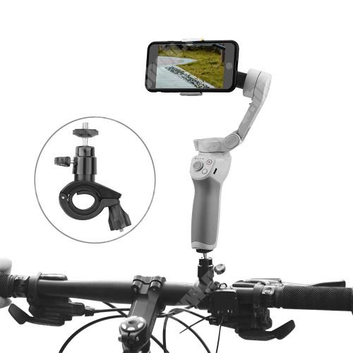 """LG G4c (H525N) UNIVERZÁLIS biciklis / kerékpáros tartó konzol kamerákhoz - FEKETE - 1/4""""-os rögzítő univerzális csavarral, 360°-ban forgatható, alumínium, kormányra rögzíthető, GoPro / DJI OSMO kompatibilis, 26 x 92 x 56 mm"""