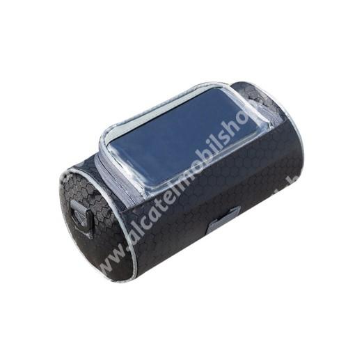 UNIVERZÁLIS biciklis / kerékpáros tartó konzol mobiltelefon készülékekhez - cseppálló védő tokos kialakítás, cipzár, 3 állítható rögzítőpánt, kormányra rögzíthető, vállpánttal, hordozható,  220 x 125 mm - FEKETE