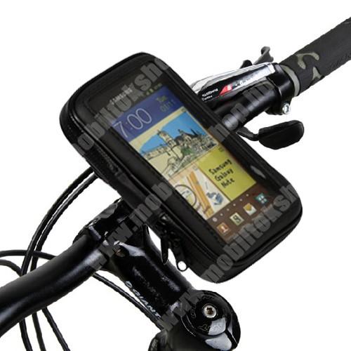 """MOTOROLA Defy Mini (XT320) UNIVERZÁLIS biciklis/kerékpáros tartó konzol mobiltelefon készülékekhez - 5.3"""" méretig / 160 x 95 mm-es bölcső, cseppálló védő tokos kialakítás - FEKETE"""