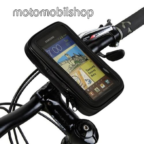 """UNIVERZÁLIS biciklis/kerékpáros tartó konzol mobiltelefon készülékekhez - 5.3"""" méretig / 160 x 95 mm-es bölcső, cseppálló védő tokos kialakítás - FEKETE"""