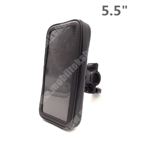 """HomTom HT7 UNIVERZÁLIS biciklis / kerékpáros tartó konzol mobiltelefon készülékekhez - 5.5"""" méretig / 158 x 78 mm-es bölcső, cseppálló védő tokos kialakítás - FEKETE"""