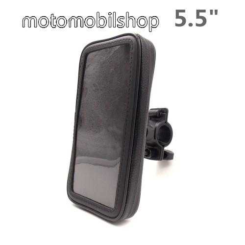 """UNIVERZÁLIS biciklis / kerékpáros tartó konzol mobiltelefon készülékekhez - 5.5"""" méretig / 158 x 78 mm-es bölcső, cseppálló védő tokos kialakítás - FEKETE"""